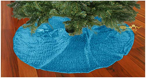 (Christmas Tree Skirt 48Inch Tree Skirt Sequin Tree Skirt Turquoise Tree Skirt for Christmas/Thanksgiving Day)