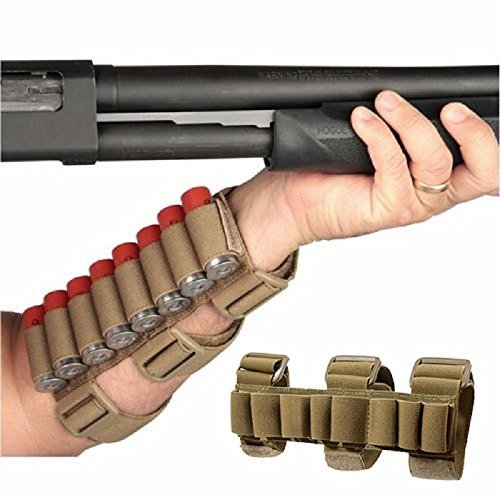 - GVN 8 Rounds Gun Ammo Storage Shotgun Shell Holder Adjustable Shooters Forearm or Buttstock Sleeve Magazine Pouch FDE