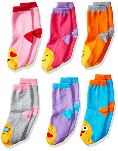 Jefferies Socks Girls Little Emoji Fashion Cotton Crew 6 Pair Pack