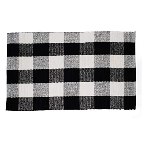 Winwinplus 100% Cotton Buffalo Check Rug,Black/White Hand-Woven Checkered Carpet Washable Rag Throw Rugs,23.6x35.4,Black and White Rugs for Living Room/Kitchen