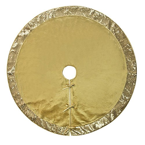 """Sequined Border - 50""""Christmas Tree Skirt–Decorative Christmas Tree Skirt for Christmas &Holiday/Rich Gold Satin Center with Gold Sequined Border (Three Layer Construction)"""