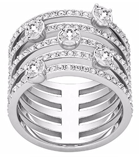 Swarovski Crystal Plated Stainless Steel Ring, 8.5