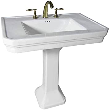 Victorian 32 Large Pedestal Bathroom Sink Heavy Duty Porcelain Pre Drilled Widespread Faucet Holes With Overflow Renovator S Supply Manufacturing Amazon Com