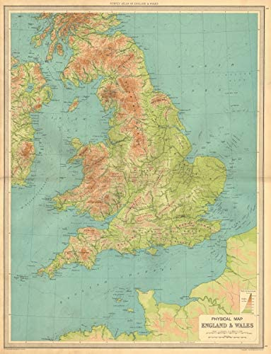 Large Map Of England And Wales.Amazon Com England And Wales Physical Map Mountains Elevation