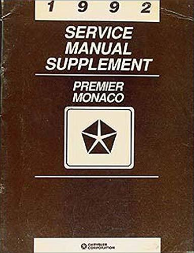 1992 Dodge Monaco & Eagle Premier Repair Shop Manual Original Supplement