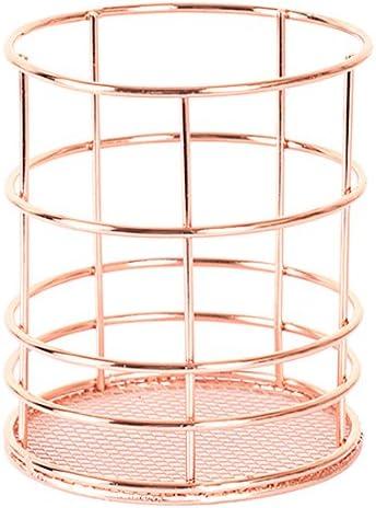 Stiftköcher, Foxom Metall Rosé Gold Schreibtischköcher Stifteorganiser Stiftehalter Stiftebox Schreibtischorganizer Stiftköcher size 9*9*10cm (Runde)