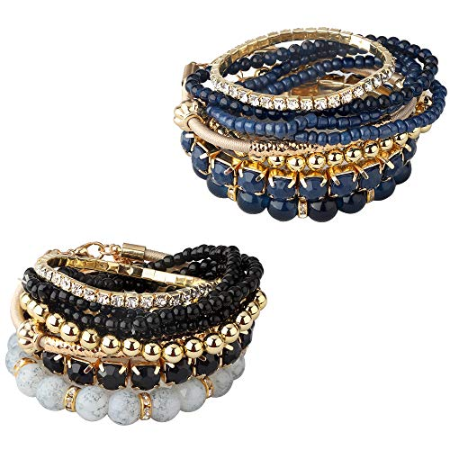 (Milacolato 2 Sets Stackable Bracelets for Women Girls Multilayer Beaded Bracelets Stretch Bangles Bohemian Style Black)