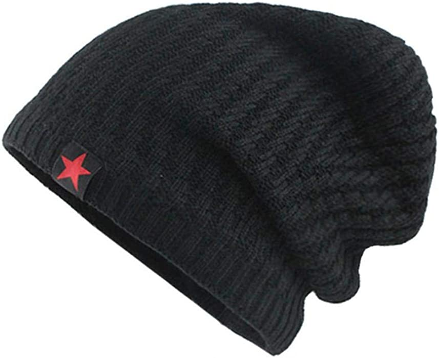 7d27632e995 Amazon.com  Unisex Winter Beanie Skull Cap Warm Knit Fleece Snow Ski  Slouchy Hat for Men Women (Black)  Clothing