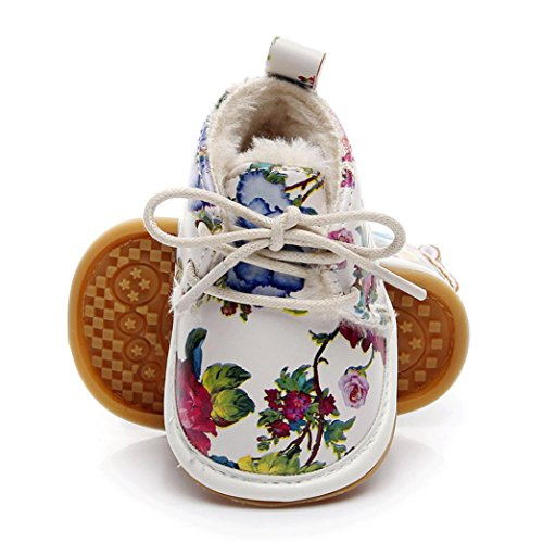 AutumnFall Baby Girls Boys Floral Crib Shoes Prewalker Newborn Infant Soft Sole Anti-Slip Sneakers (Age:6~12 Month, Multicolor)
