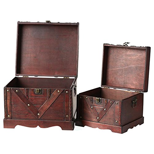 Vintiquewise(TM Old Style Treasure Chest/Box, Set of 2 by Vintiquewise (Image #3)