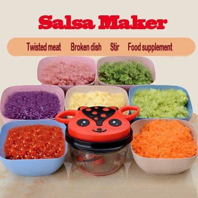 Salsa Maker, Hand-Powered Miracle Chopper Baby Multi Vegetable Chopper Meat Grinder Fast Salsa Maker Food Mixer Blender to Chop Meat Fruits Vegetables Herbs Onions Garlics ...