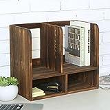 Rustic Torched Wood Multipurpose Office Desktop Bookcase, Storage Shelf Organizer, Brown