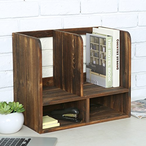 Rustic Torched Wood Multipurpose Office Desktop Bookcase, Storage Shelf Organizer, Brown by MyGift