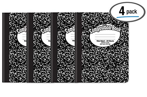 Composition Book Notebook - Hardcover, Wide Ruled (11/32-inch),