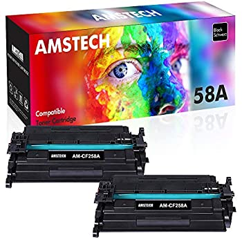 Image of Laser Printer Drums & Toner Amstech Compatible Toner Cartridge Replacement for HP 58A CF258A 58X Toner for HP Laserjet Pro M404n M404dn M404dw M428 HP Laserjet Pro MFP M428fdw M428fdn M404 Ink Printer NO Chip (Black, 2-Pack)