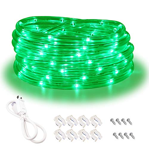 Green Rope Lights,16ft Waterproof, Connectable and Flexible LED Strip Lights with Advanced LEDs and Crystal-Clear Thick PVC Jacket, High Brightness, Great for Deck Pergola Handrail Bedroom (Outdoor Green Led Lights)