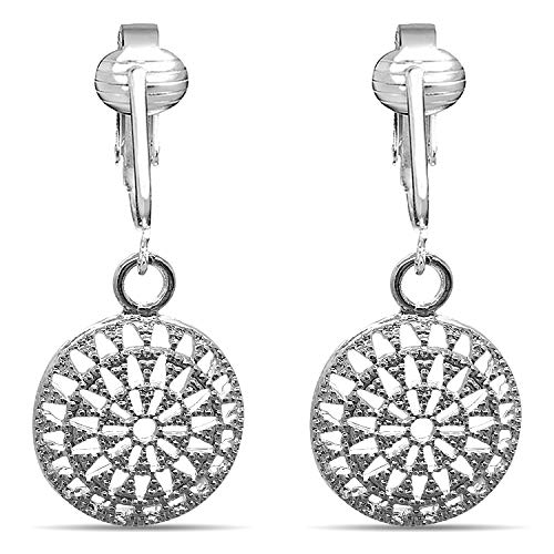 Womens Clip Earrings Silver, Silver Earrings Clip On for Women, Lightweight Silver Clip Earrings (Silver Round Filigree) ()