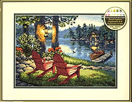 Ochoos Top Quality Gold Collection Lovely Counted Cross Stitch Kit Twilights Calm Moring Lake Chair House Villar dim 35261 Cross Stitch Fabric CT number: 14CT unprint canvas