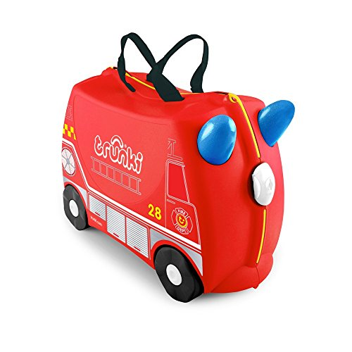 Trunki Original Kids Ride-On Suitcase and Carry-On Luggage - Frank Fire Truck (Red)