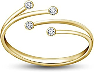 RS JEWELS 925 Sterling Silver Adjustable Bypass Women's Toe Ring in White CZ 14k Yellow Gold Plated