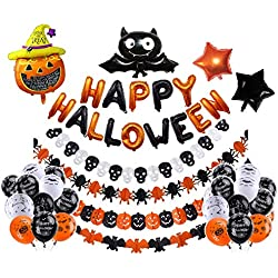 LEWOTE Halloween Balloons Banner Kit[42 Pcs Large Type Decorations] Happy Halloween Party Decoration[Include Halloween Banner/Latex Balloons/Paper Garlands/Star, Pumpkin&Bat Inflatable Balloons]