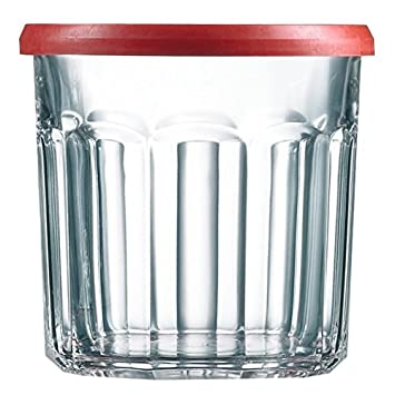 Conjunto de 6 Luminarc transparente de cristal para mermelada o potable vidrio vaso con rojo tapa