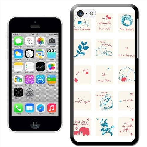 Fancy A Snuggle Coque rigide à clipser Motif éléphants et messages d'amour Coque arrière rigide pour Apple iPhone 5C