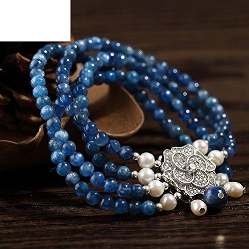 natural bleu bracelet en cristal/Pendentif Mesdames Silver Circle Pearl/ fashion bijoux en cristal