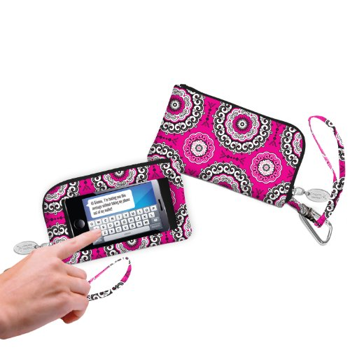 (Charm 14 Touchscreen Wallet Everything Bag Wristlet for Smartphones - Retail Packaging - Boho Medallions)