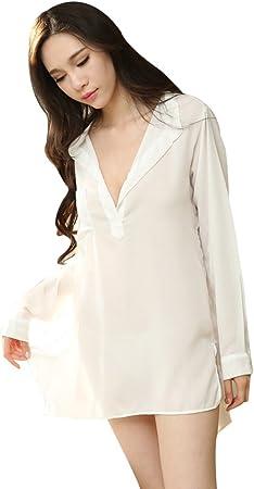Ailin home- Sra. Babydoll Traje de lencería Sexy de Manga Larga Camisa Blanca Chiffon Perspectiva Pijama (Color : Blanco, Tamaño : One Size): Amazon.es: Deportes y aire libre