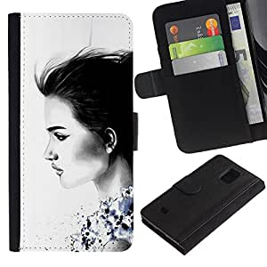 Billetera de Cuero Caso Titular de la tarjeta Carcasa Funda para Samsung Galaxy S5 Mini, SM-G800, NOT S5 REGULAR! / Lady Charcoal White Minimalist / STRONG