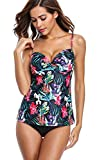 Anfilia Women Underwired Tankini Swimsuits Push up Bathing Suit 2 Piece Floral 8