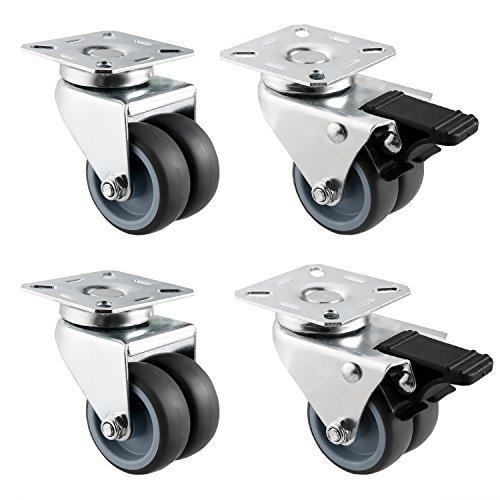 Heavy Duty Dual Wheel Caster (2'' Dual Heavy Duty Swivel Caster Brakes Wheels 330LBS Durable Top Plate Office Lawn Wheels (Set of 4))