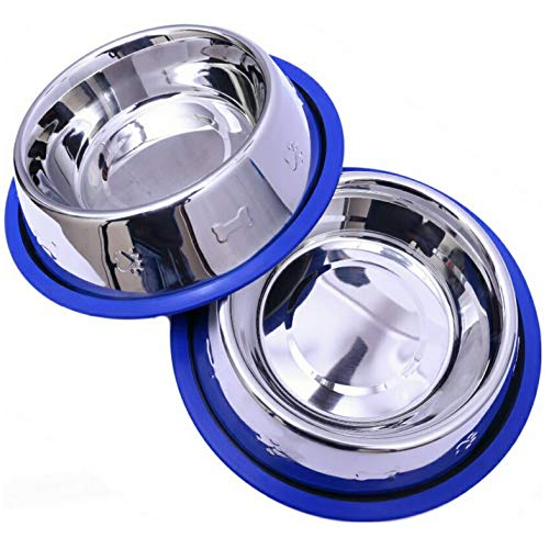 Mr. Peanut's Set of 2 Etched Stainless Steel Dog Bowls, Easy to Clean, Bacteria & Rust Resistant, with Non-Skid No-Tip Silicone Ring, Feeding Bowls for Dogs (2 Pak / 32oz Each Bowl)