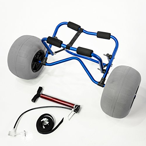 Challenger Mobility Kayak Carrier CART with Large Balloon Tires Heavy Duty Blue + Pump & Strap ()
