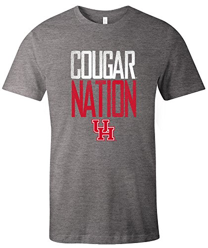 NCAA Houston Cougars Adult NCAA Dotted Phrase Short sleeve Triblend T-Shirt,XXL,Grey
