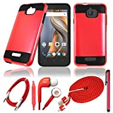 QCO WIRELESS Rugged Shock Proof Case + 6ft USB Cable + Aux + In-Ear Stereo Headset & Stylus Pen Kit for (MetroPCS) Coolpad Catalyst (5 Item Bundle – Metal Red)