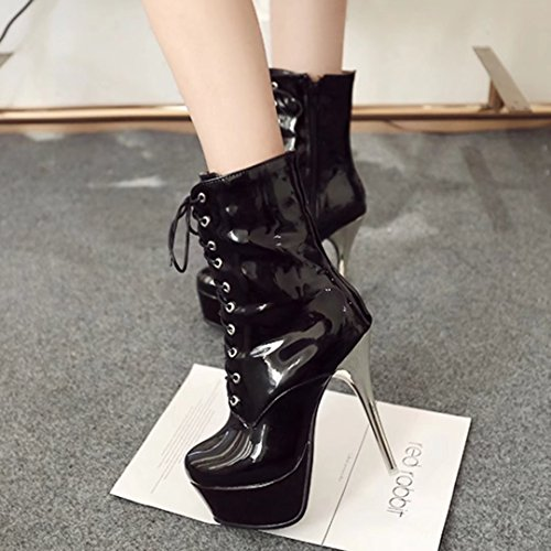 AIYOUMEI Damen Lackl Stiletto Stiefeletten mit Plateau und Schnürung Reißverschluss Stiefel Schuhe Schwarz