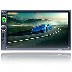 FiveFour 7.0-Inch Double-Din In-Dash Car Stereo Receiver Support RDS/AUX/FM/AM,BT,1080P Touchscreen,Wireless Remote,Steering Wheel Control