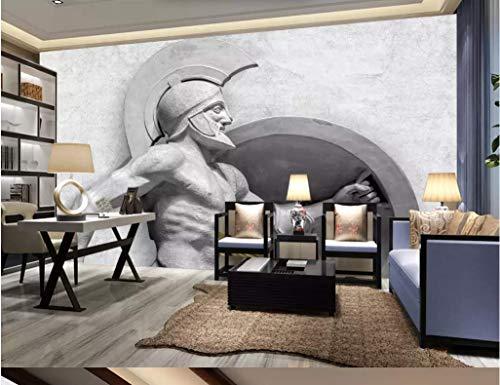 Wall Mural 3D Greek Warrior Stone Sculpture Wallpaper 3D Large Murals Modern Living Room Bedroom Wall Decoration