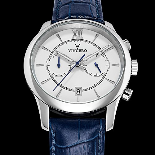 c1ff427aee1b Vincero Luxury Men s Bellwether Wrist Watch — White dial with Blue Leather  Watch Band — 43mm Chronograph Watch — Japanese Quartz Movement -  Whi-Blu-W05 ...