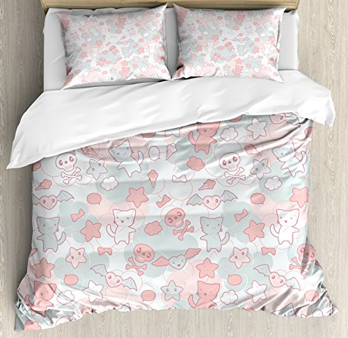 - Ambesonne Doodle Duvet Cover Set King Size, Cartoon Styled Cute Cats Bats and Skulls Japanese Inspired Kawaii Design, Decorative 3 Piece Bedding Set with 2 Pillow Shams, Light Pink