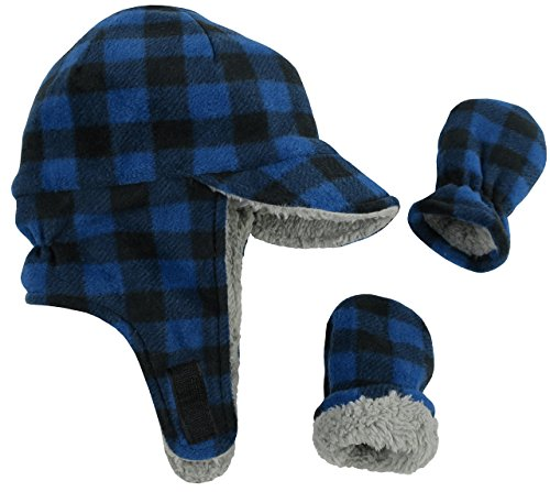 N'Ice Caps Little Boys and Baby Sherpa Lined Fleece Flap Hat Mitten Winter Set (6-18 Months, Royal Buffalo Plaid Infant) -