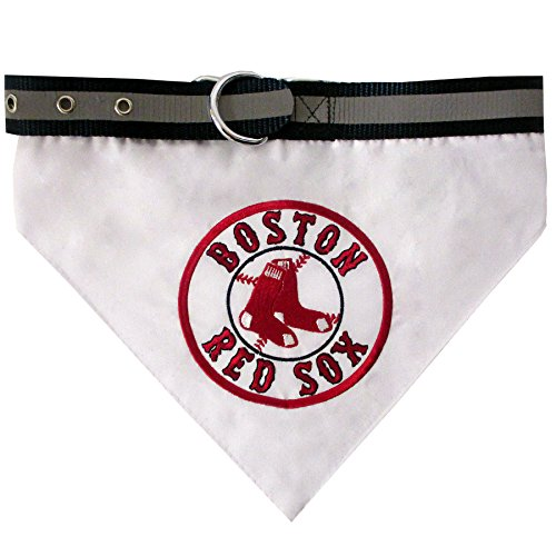 Pets First MLB Bandana - Boston RED SOX Dog Bandana with Reflective & Adjustable Dog Collar, Large ()