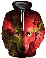 GLUDEAR Unisex Realistic 3D Digital Print Pullover Hoodie Hooded Sweatshirt,Red Wolf,S/M