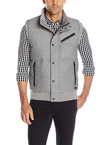 Guess Quilted Coat - GUESS Men's Carter Quilted Vest, Light Heather Grey Multi, L