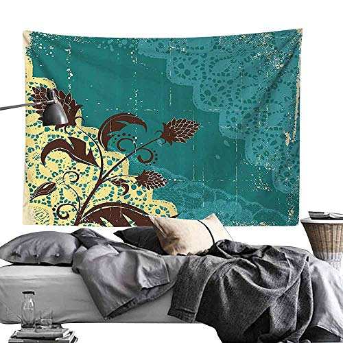 Homrkey Bed Linen Tapestry Vintage Flower Decorations Lacework Old Aged Distressed Antique Display Wall Hanging W24 x L20 Teal Light Yellow Dark Brown