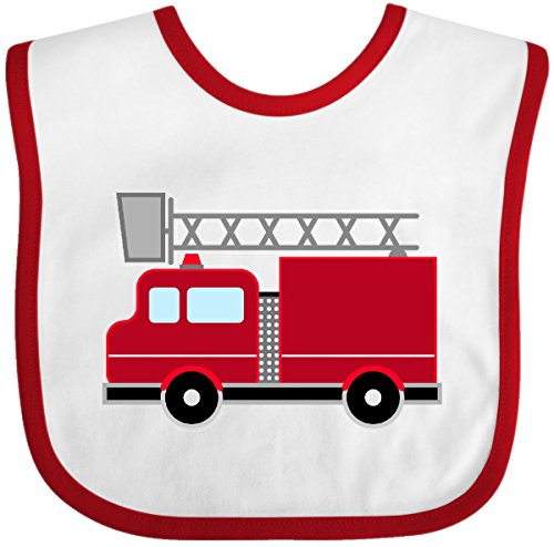 Inktastic - red firefighter fire truck Baby Bib White/Red 2871a
