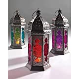 Moroccan Style Glass Lamp Lantern, Coloured Glass and Iron, Fairly Traded, in shades of Orange and Re