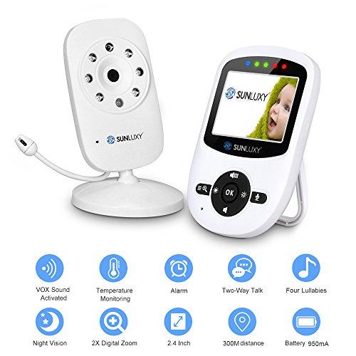 SUNLUXY Wireless Video Babyphone Babymonitor mit Digitalkamera Nachtsicht Temperaturüberwachung & 2 Wege PAN/ TILT Gegenspechsfunktion